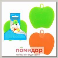 Щетка силиконовая для мытья посуды, овощей и фруктов Вкусное яблоко 11х11 см